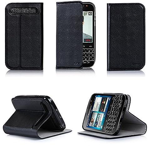 Etui luxe Blackberry Classic Ultra Slim noir Cuir Style avec stand - Housse coque de protection pour Blackberry Classic Q20 2015 - Prix découverte accessoires pochette XEPTIO : Exceptional case !
