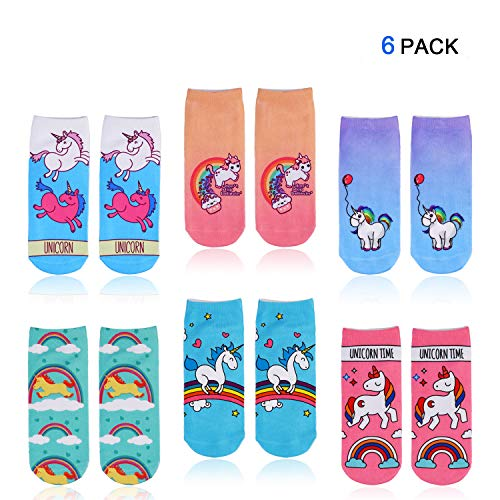 Konsait unicornio calcetines de corte bajo para niña y mujeres, calcetines tobilleros de Algodón, EU 34-41, para piñata, fiesta unicornio, Artículos de fiesta de cumpleaños Regalo niñas (Pack de 6)