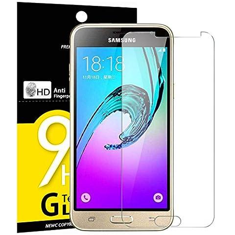 Verre Trempé Galaxy J3, NEWC® Film Protection en Verre trempé écran Protecteur vitre - ANTI RAYURES - SANS BULLES D'AIR -Ultra Résistant (0,33mm HD Ultra transparent) Dureté 9H Glass Screen Protector pour Galaxy J3