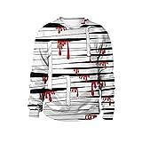 Yamyannie Unisex Pullover Top Sweatshirt Herbst Winter Langarm Rundhals Pullover Halloween Kostüm Kleidung (Farbe : White Black, Größe : XXL)