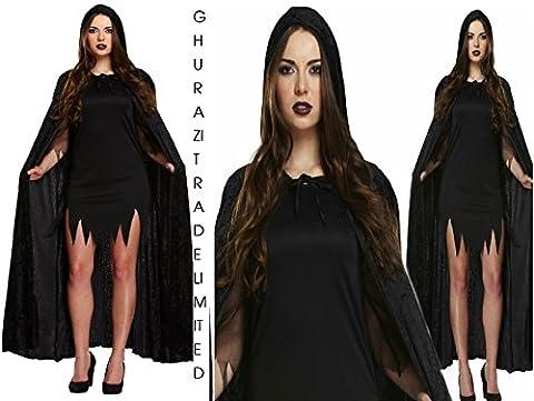 Unisex Long Black Velvet Hooded Cape - Halloween Fancy Dress Costume V38682