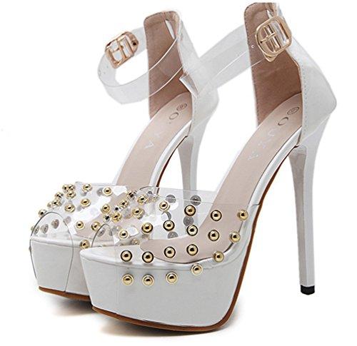 Aisun Damen Modern Peep Toe Punk Niete Transparent Kunststoff Knöchelriemchen Sandale Weiß