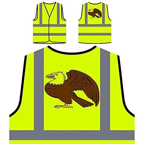 Retro Glatze Adler schöne Vogel Geschenk Personalisierte High Visibility Gelbe Sicherheitsjacke Weste f762v