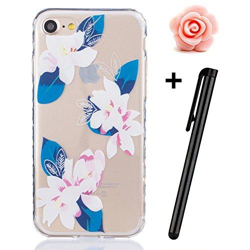 TOYYM UltraSlim Hülle Schutzhülle für iPhone 7 Plus,TPU Bumper Case Shock Absorption Scratch-Proof Silikon Cover transparent,Two Feder Blume