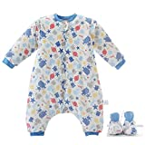 Baby Schlafsack Winter Abnehmbare lange Ärmel Beine Warm Futter Schlafsack 2,5 Tog Geeignet für Kinder 0-4 Jahre alt