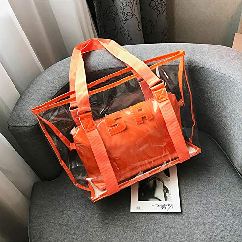 Top Zip Carry On (Ohyoulive Women Transparent Handbag Letter Decor Clear Compound Beach Shoulder Bag Tote Casual Top Bag Crossbody Fashion Brief Practical for Lady Large Travel Shopping Anti-Theft Daypack)