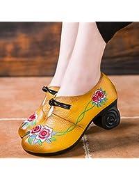Bomba 6cm Chunkly Heel Ronda Toe Bordado De Cuero Mediados De Los Tacones Zapatos De Vestido Zapatos De La Corte Mujeres Simple Viento Nacional De China Hebilla Zapatos Casual 2017 Otoño E Invierno Nuevo Eu Tamaño 34-39 ( Color : Yellow , Size : 35 )