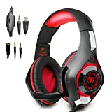 Beexcellent Gaming Kopfhörer PS4 PC 3.5MM Gaming Headset mit Mikrofon USB-LED-Licht für PS4 PlayStation 4 / PC Gaming Gamer / Laptop / Mac iPhone, Headset-Splitter (Rote)