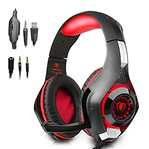 Beexcellent Gaming Headphones with Mic for New Xbox One, PS4, PC - Surround Sound, Noise Reduction - Easy Volume Control LED Lighting - 3.5MM Jack for Smart Phone, Laptop,Computer Red