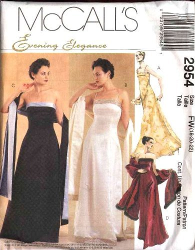 McCall's Sewing Pattern 2954 Misses Size 6-8-10 Formal Evening Prom Strapless Dress Gown Shawl by McCall's Strapless Formal Gown