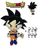 PBP Dragon Ball Super - Peluche Goku, Pelo Negro 30cm Calidad Super Soft + 1 Llavero Aleatorio de Sonic