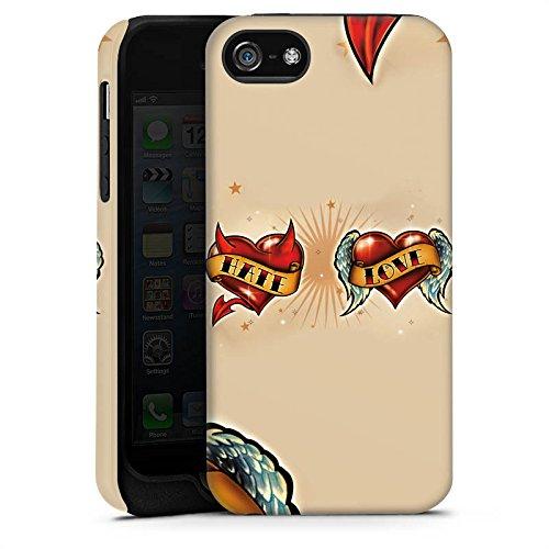 Apple iPhone X Silikon Hülle Case Schutzhülle Liebe Hass Herz Tough Case matt
