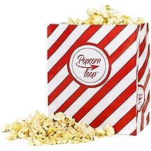 Popcorntüten Popcornloop Original 50 Stück Vorteilspack Rot-Weiß Gestreift Papier 10x5 Stück Insgesamt 50 Tüten Größe M
