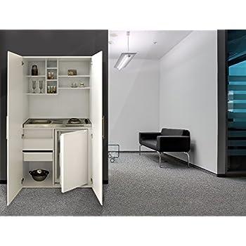Respekta single büro pantry küche miniküche schrankküche weiß ceran