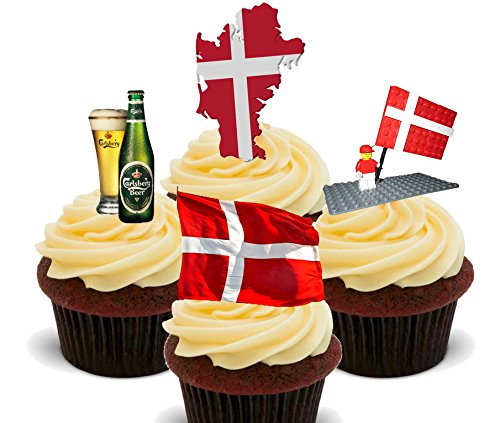 Denmark Fun Pack, Edible Cupcake Toppers - Stand-up Wafer Cake Decorations (Pack of 12)