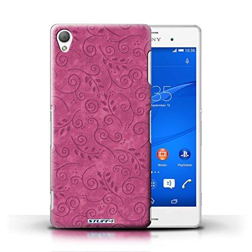 Kobalt® Imprimé Etui / Coque pour Sony Xperia Z3 / Orange conception / Série Motif Feuille Remous Rose