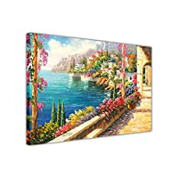 "Magical View From a Mediterranean Balcony on Framed Canvas Picture Oil Painting Re-print SIZE: A3 - 16"" X 12"" (40cm X 30cm)"
