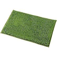 Mayshine 50x80 cm Verde Alfombra antideslizante para Baño Chenille Tepete lavable en la Lavadora Alfombrilla antideslizante Microfibras suaves Agua absorbente