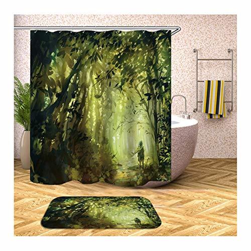 Beydodo Badezimmerteppich Set 2 Teilig Lustiger 150x180 Duschvorhang Antischimmel Mann im Wald 40x60 cm Badematten für Stand WC