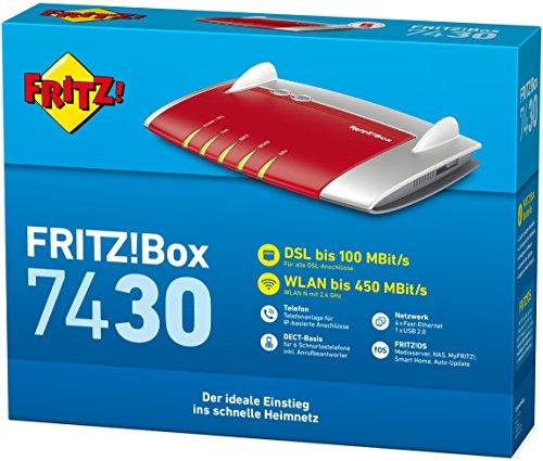 AVM FRITZ!Box 7430 (VDSL-/ADSL2+, WLAN N, 450 MBit/s (2,4 GHz), TK-Anlage für Voice over IP mit DECT-Basis, Mediaserver) geeignet für Deutschland - 3