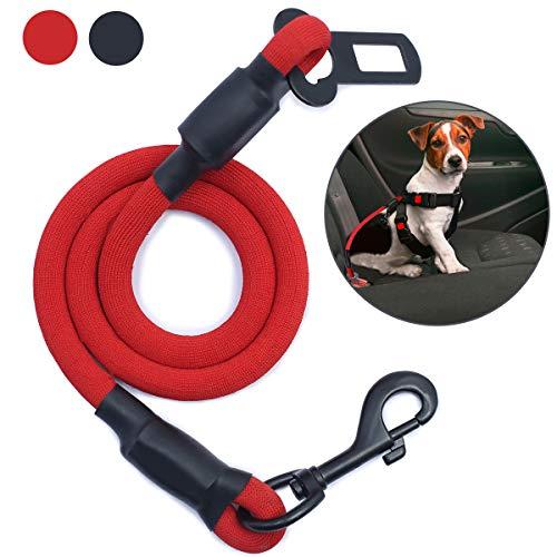 AMZNOVA Hundesicherheitsgurt für große Hunde, Hochbelastbare Elastischer Hunde Autogurt zur Stoßdämpfung mit Clip, rot, extra groß