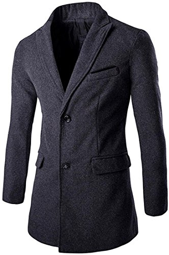 jeansian Herren Casual Stand Collar Trench Wool Coat Single Breasted Jacket Winter Overcoat Tops 9511 Gray