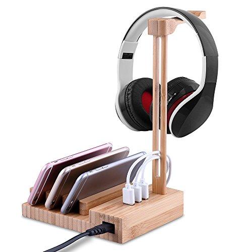 Docooler Holz Kopfhörer Stand mit USB 3.0 Ladegerät 3 Ports Universal Lade Kopfhörer Kleiderbügel Halter