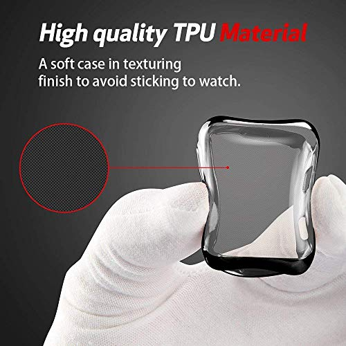Smiling Apple Watch 3 Case Buit in TPU Screen Protector All-Around Protective Case High Defination Clear Ultra-Thin Cover for Apple Watch 38mm Series 3 and Series 2 (Black, 38mm)