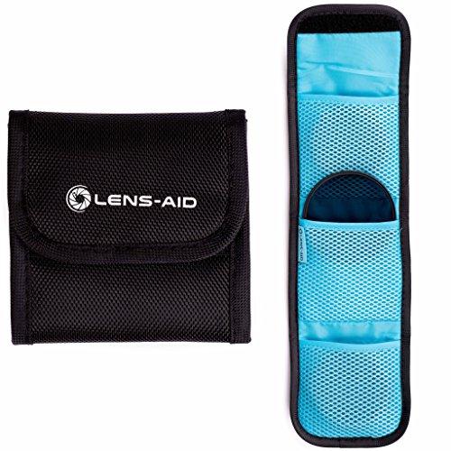Filtertasche mit 3 Fächern für Filter bis 82mm, Tasche für Objektiv Polfilter, UV-Filter, Kamera Deckel, Akkus, Mikrofasertuch etc. von Lens-Aid
