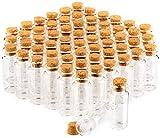 COM-FOUR conjunto de tarros de especia 60x con corchos, mini viales de vidrio, juego de tarros de dulces, almacenamiento de aceites, especias, hierbas o té de aproximadamente 10 ml (60 piezas)