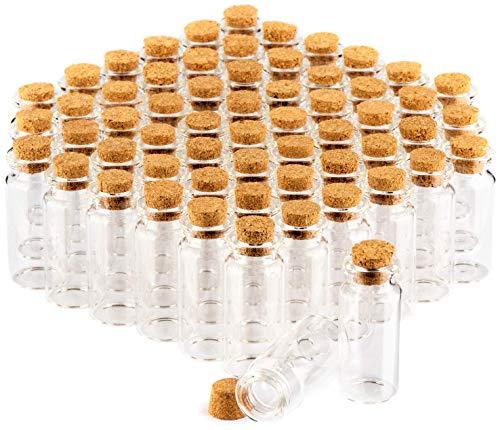 COM-FOUR barattolo di spezie 60x con tappi di sughero, fiale di vetro mini, set di barattoli di caramelle, stoccaggio di oli, spezie, erbe o tè circa 10 ml (60 pezzi)