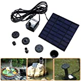 Covermason Solar Springbrunnen Solar bewässerung 1.2W 7V Solarbatterie Brunnen und Pumpen Solar Panel für Gartenteich Oder Springbrunnen (Schwarz)