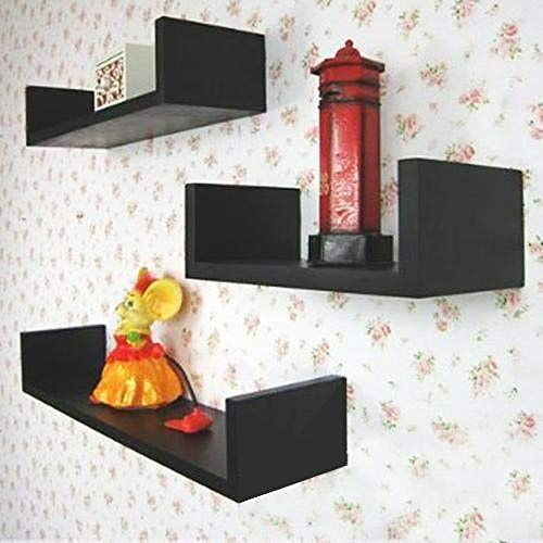 Lot 3 étagères murales Design cube Colorées noir