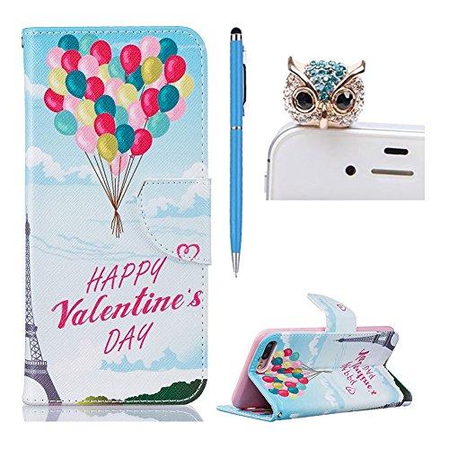 für iphone 7 Plus Hülle Klappbar Leder ,SKYXD Schmetterlings-Blumen Muster PU Folio Schutzhülle [Magnetverschluss / Brieftasche Kartenfach / Standfunktion] Klapphülle mit [Krone Handyanhänger + Eingab Design 14