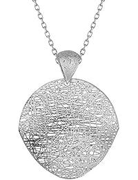 14ct 14ct oro blanco 35mm plana redonda Chip Colgante Oro Blanco 1,1mm Cable Link collar de cadena–46CE