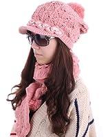 Women Beads Decor Pom Pom Hat Ruffled Hem Winter Wool Scarf