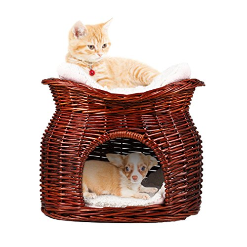 LOSY PET Cama Mimbre Gatos Cesta 2 Niveles Mascotas