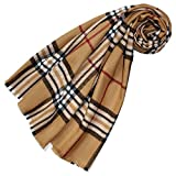 Lorenzo Cana - Eleganter Damen Schal mit Wolle Made in Germany Hergestellt in Deutschland Winterschal Kariert Check gewebt Camel Rot Schwarz Weiss 78463