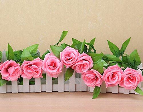 Artificiale profonda Pink Rose fiore di seta, NNIUK 2.45 Meter Rosa artificiale fiore di seta Con Foglia Verde Hanging vite a nozze, giardino della casa decorazione della