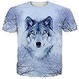 Funnycokid Teen Boys Camisetas en Toda la impresión Lobos Ropa de Verano