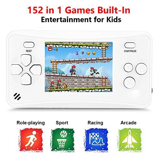 QINGSHE QS-1 Console di Giochi Portatile , Console di Giochi Retro Game Console 2.5 Pollice LCD 152 Classic Giochi ,TV Output Videogioco Portatile per Genitori dei Bambini Amici -Bianco