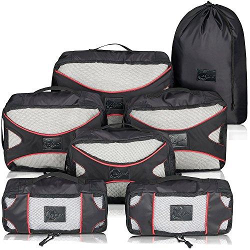 Loarato Premium Packing Cubes mit einzigartigen Extras - 7-teiliges Packtaschen Set / Packwürfel sind ideal für Handgepäck, Rucksäcke und Seesäcke (schwarz - rot)
