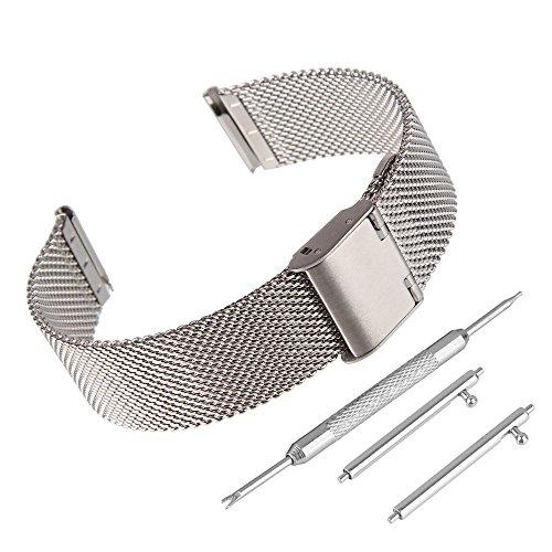 BEWISH 20mm Uhrenarmbänder Maschendraht Edelstahl Milanese Ersatzband Metall Uhrarmband Faltschließe Uhr Band Schnalle Wechselarmband Uhr Armband Smart Watch Wrist Strap Band Uhrmacherwerkzeug