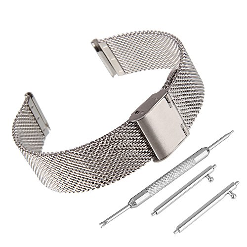BEWISH 22mm Uhrenarmbänder Maschendraht Edelstahl Milanese Ersatzband Metall Uhrarmband Faltschließe Uhr Band Schnalle Wechselarmband Uhr Armband Smart Watch Wrist Strap Band...