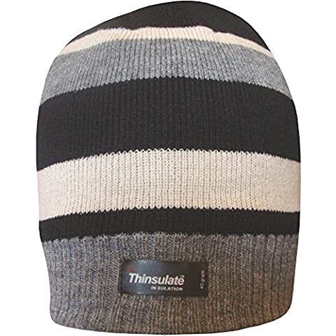 Boys Striped Design Thermal Knit Fleece Lined Thinsulate Winter Beanie Hat (Black Grey & Cream)