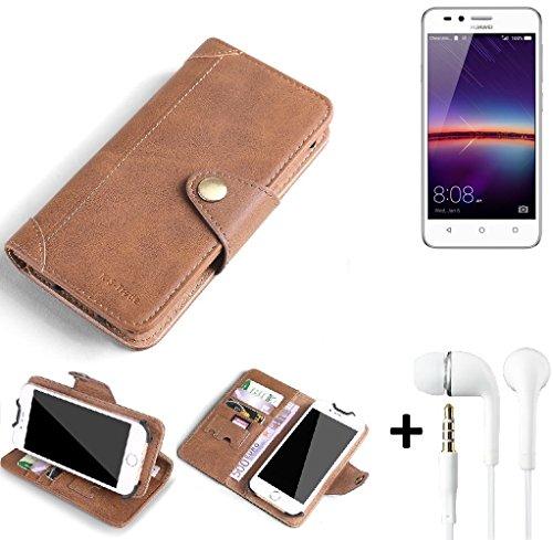 K-S-Trade® Schutzhülle für Huawei Y3 II Dual-SIM Hülle Tasche Handyhülle Handytasche Wallet Flipcase Cover Handy Tasche Kunsteleder Braun Inkl. in Ear Headphones