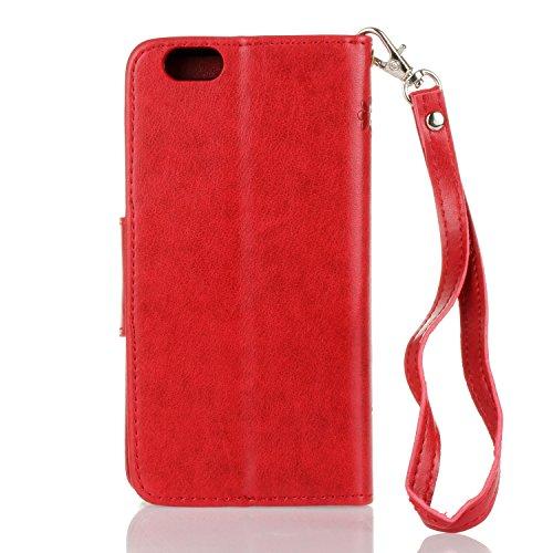 Coque iPhone 6 a rabat, LuckyW PU Housse en Cuir pour Apple iPhone 6/6S (4.7 pouces) Fleur de Papillon Motif Clapet Flip Folio Wallet Portefeuille Case Elegant Durable Protecteur une Portable Holster  Rouge