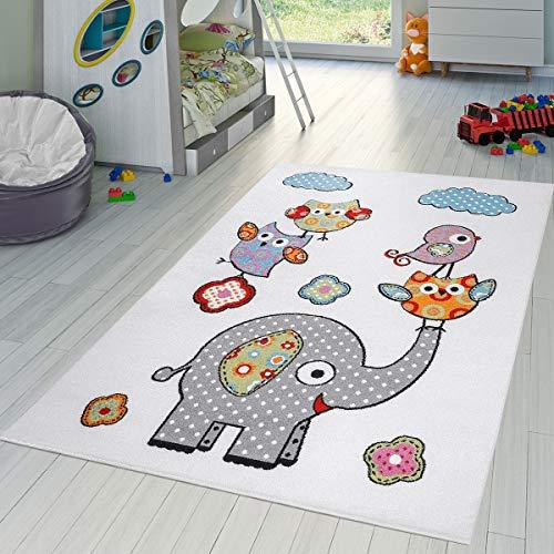 T&T Design Alfombra Infantil Animales Jugando Zoo Búhos Elefantes Pelo Corto Crema Fucsia, Größe:80x150 cm