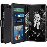 LK Huawei P10 Plus Hülle, Luxus PU Leder Brieftasche Flip Case Cover Schütz Hülle Abdeckung Ledertasche für Huawei P10 Plus (Schwarz)