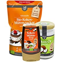Paquet de dégustation de noix de coco organique borchers: 1x huiles de coco organique native (200 ml), 1x sucre de fleur de coco bio (275 g), 1x sirop de fleur de coco bio (250 g)
